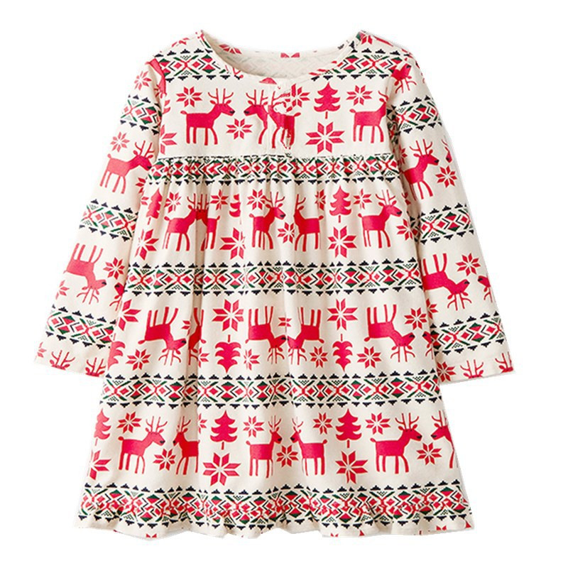 Jumping meters new girls dresses Christmas gift fashion long sleeve baby dress for autumn kids dresses party animals print frock letter print split sleeve dress