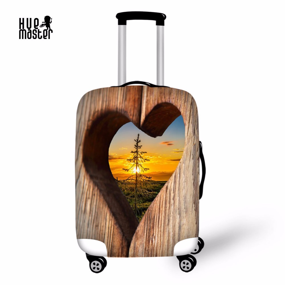 Travel Accessories Luggage Cover High Elasticity Suitcase Case Cover With Zipper Love Printing Suitcase Protective Covers