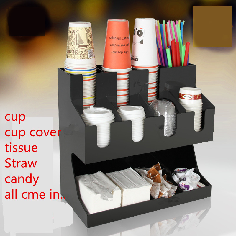 new arrival bar counter storage shelf,acrylic cup/cup cover/tissue