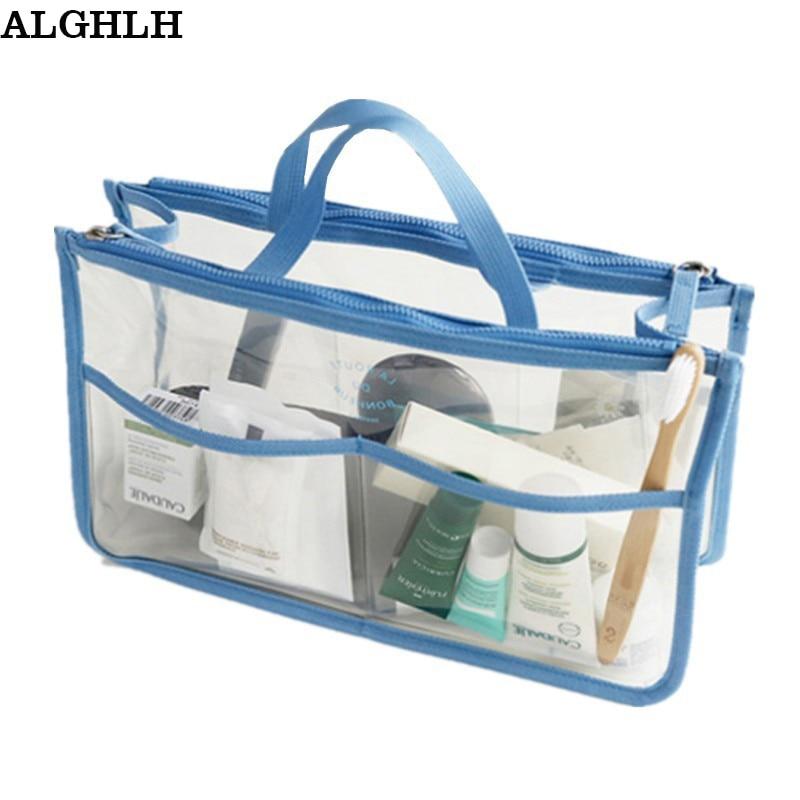 النساء حقائب اليد البلاستيكية للماء شفافة التجميل سفر الضرورات الكبيرة التجميل المنظم حقيبة التخزين يشكلون حقيبة