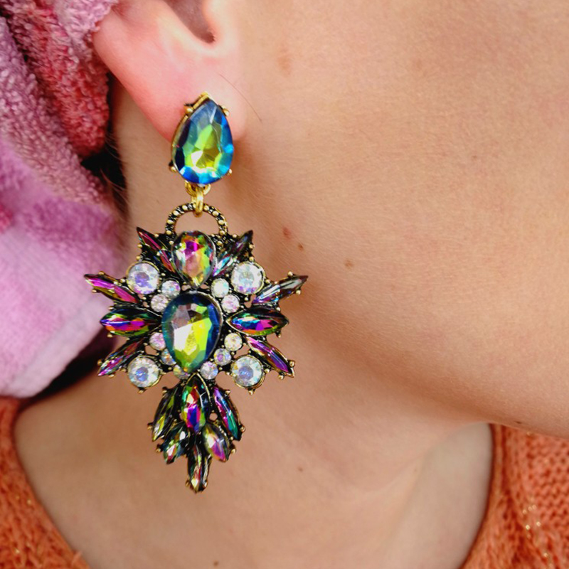 Dvacaman Statement-Earrings Jewelry Starburst Crystal Facebook Colorful Popular Women