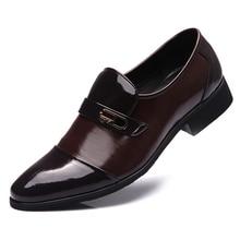 Hombres de Negocios de Cuero Genuino de la vendimia Zapatos Derby Negro Charol Punta estrecha Zapatos de Vestir Para Hombre de La Boda de Borgoña Calcados