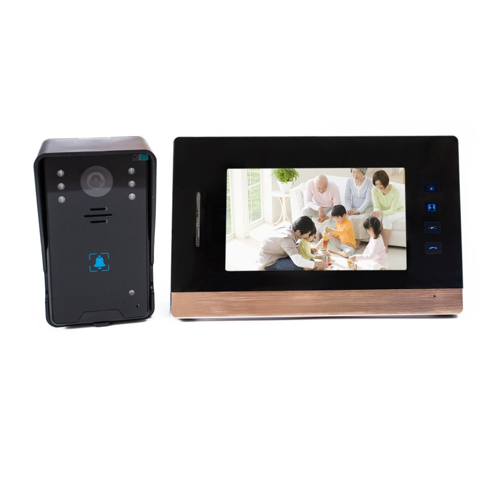 2018 7-Inch Screen Wired Visual Doorbell Infrared Night Vision Door Bell Video Intercom Door Phone Home Security 7 inch screen indoor unit wired video intercom doorbell villa unlocking access control rain with night vision
