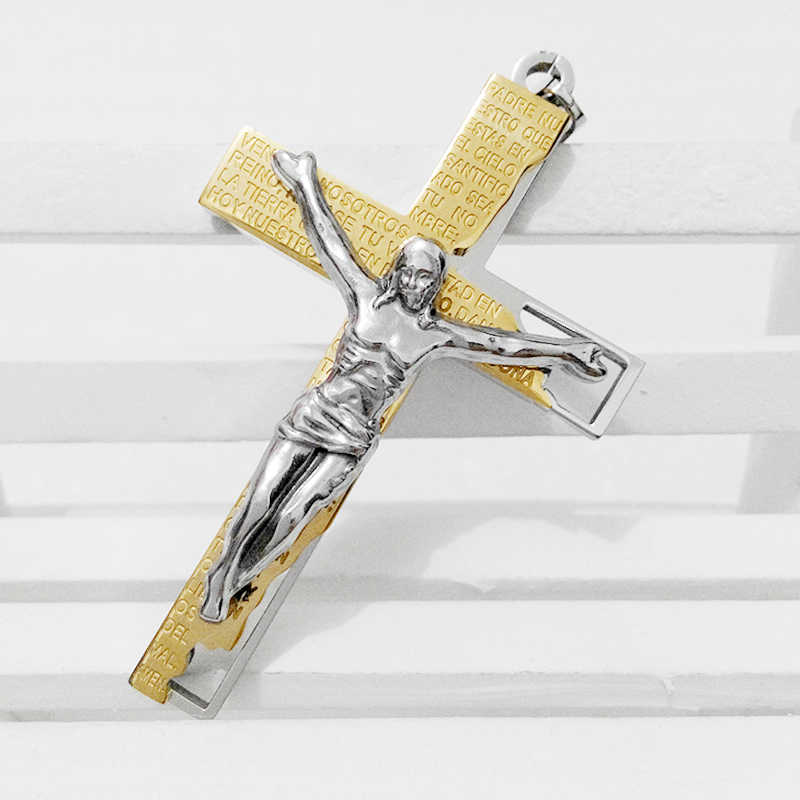2016 new gold bible jesus cross pendants necklaces vintage Christian Church  crucifix necklace true religious men women jewelry