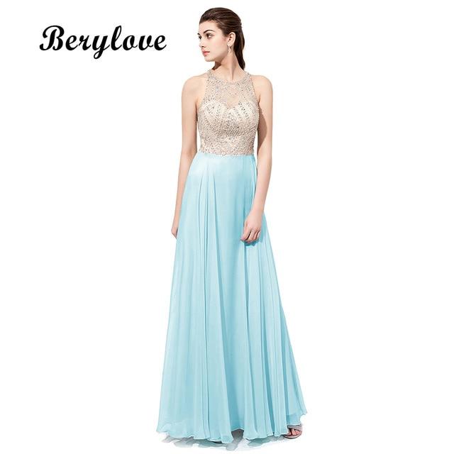BeryLove Halter Beading Long Prom Dresses 2018 Hot Selling Backless ...
