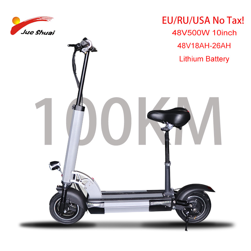 """48V 500w scooter électrique longue distance 100km 26AH 10 """"puissant planche à roulettes électrique patinete electrico adulto pliable e scooter"""