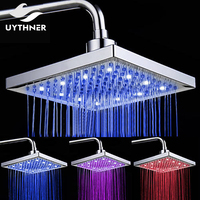 Uythner Three LED Color Changed Replacement Rainfall Shower Head 8 Inch Rectangular Shower Head