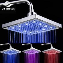 Uythner trzy diody LED kolor zmieniono wymiana opady deszczu głowica prysznicowa 8 cal prostokątna głowica prysznicowa