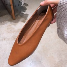 Shoes Loafers Low-Heels Square Toe Krazing Pot Slip-On L05 Sleeve Hand-Sewn Pregnant-Woman