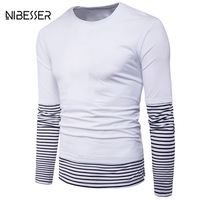NIBESSER Brand Fashion Fake Two Tee Shirts Men Patchwork Long Sleeve O Neck Summer T Shirts
