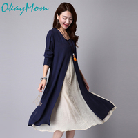 OkayMom Korean Maternity Linen Dresses Clothing Blue Long Loose Dress For Pregnant Women Pregnancy Wear Casual Dress Clothes