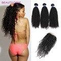 Grade 8A Malaysian Virgin Hair With Closure Kinky Curly Hair 3/4bundles With Closure Malaysian Virgin human Hair With Closure