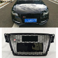 A4 B8 Black ABS Front Bumper Honey mesh Grill Grille With Parking Sensors for Audi A4 S4 RS4 B8 8K Avant 09 12