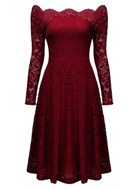 Vintage Lace Dress Off Shoulder Long Sleeves Fit   Flare Cocktail Formal  Swing Women s Midi Dresses Shawl Wrap Various Colors f02f32893