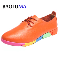 Autumn Spring New Lace Up Leather Women Flat White Shoes Pointed Toe Deep Mouth Soft Bottom