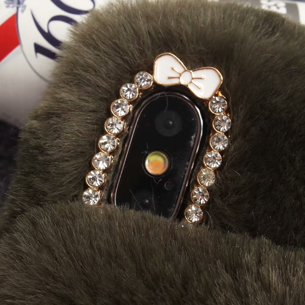 KIP61432_5_For iPhone 7 8 Hairy Warm Winter Bling Rhinestone Plush Phone Cover for iPhone XS XR 5S SE 6S 7P 8 Plus Hand Warmer Soft Case