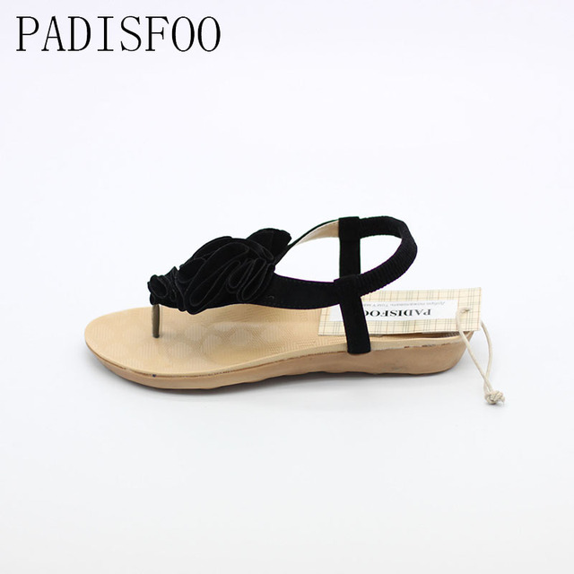 POADISFOO 2017 Bohemia Style Elegant summer flat heel with Lady sandals female flower sandals For Women .HYKL-805