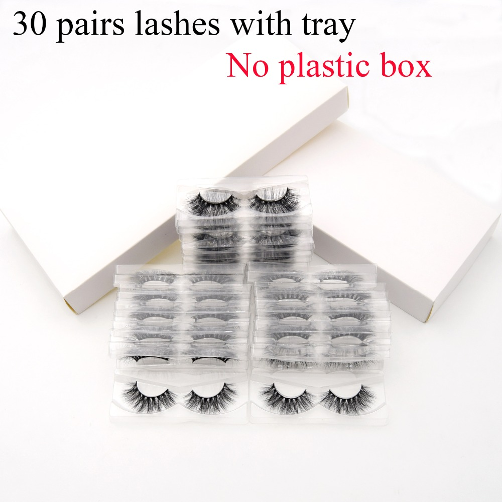 30pairs pack Visofree 3D Mink Lashes with Tray No Box Natural Cruelty Free Mink Eyelashes Reusable