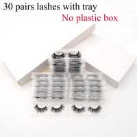 30pairs/pack Visofree 3D Mink Lashes with Tray No Box Natural Cruelty Free Mink Eyelashes Reusable False Eyelashes Long Faux Cil