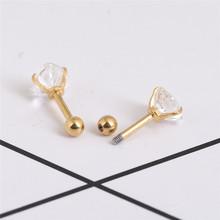 AOMU 2 kawałek 316L ze stali nierdzewnej serce Zircon tragus kolczyk Helix Brzana ucho piercing chrząstki pierścień Biżuteria dla kobiet dziewczyna tanie tanio Body Jewelry Moda Punk Crystal Labret Lip Piercing Jewelry Serca Stal nierdzewna