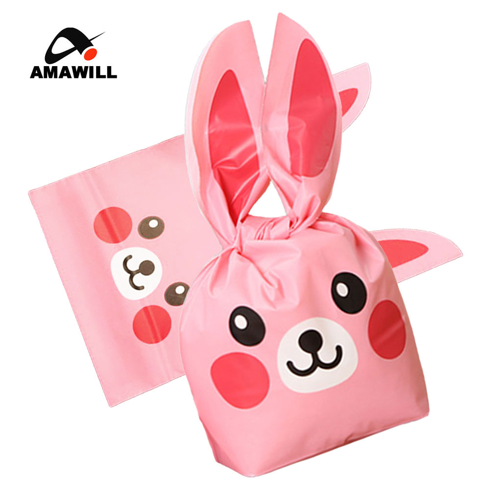 Amawill 50pcs Christmas Gift Bags Pink Candy Plastic Bags Bunny Ears Treat Bag Gift Wrap Packing Wedding Birthday Party Supplies