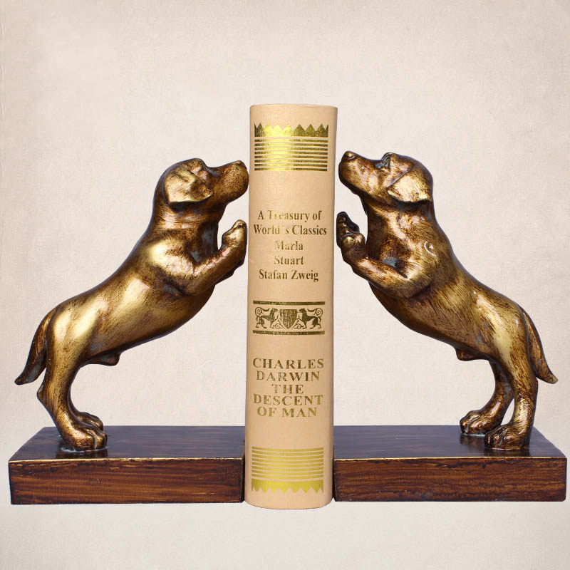 2pcs/pair Creative Dog Bookends Retro Color Resin Book Stand Holder Stationery Gift Home Decoration School Office Supplies цена