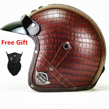 New Synthetic Leather Motorcycle Helmet Retro Vintage Cruiser Chopper Scooter Cafe Racer Cascos Moto 3/4 Open Face
