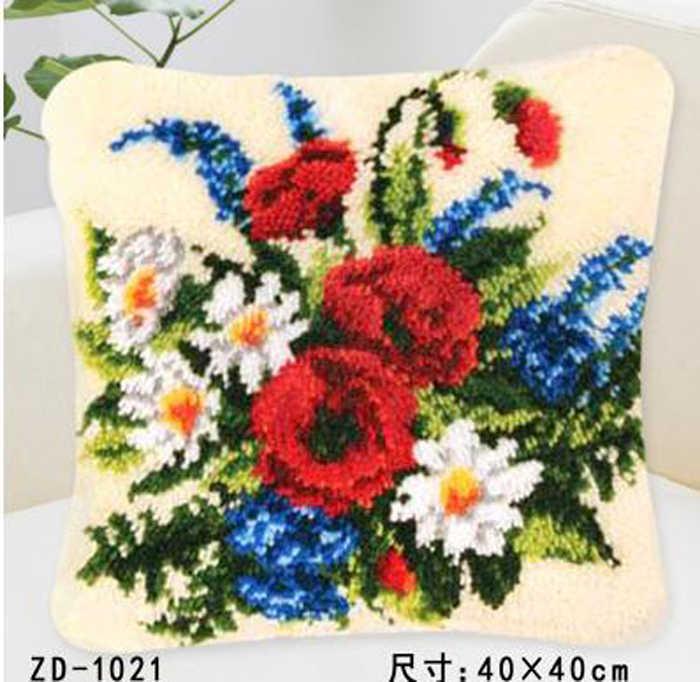 """Phương pháp kit khâu vá hoa cúc hoa Gối """"làm điều đó cho mình"""" latch kit móc tấm thảm Unfinshed thêu thảm hoa văn"""
