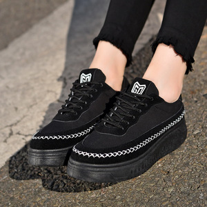 Image 4 - SWYIVY סניקרס אישה נעלי שחור 2019 חדש סתיו נשים של להחליק על נעלי בד מקרית סניקרס לנשים דירות לנשימה size40