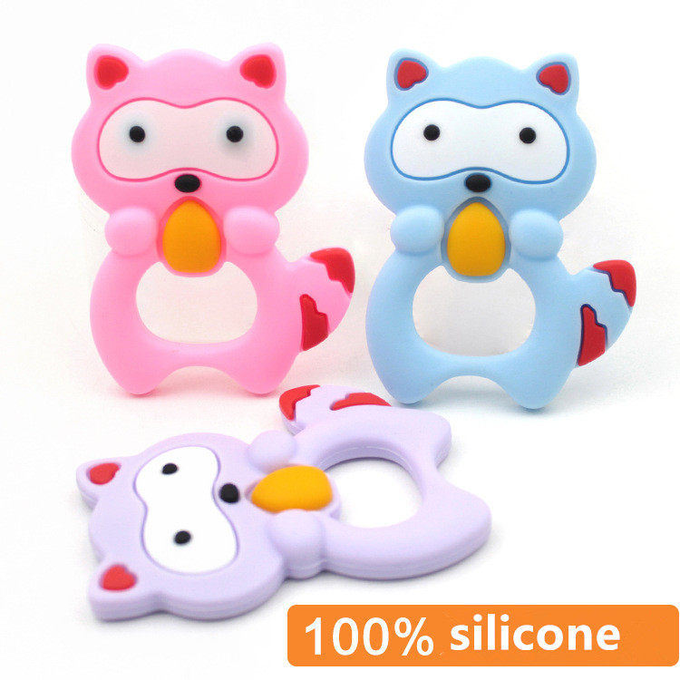 unicorn Silicone baby Teethers toy Raccoon Baby Ring Teether BPA Free Silicone Chew Charms animal Baby Teething Teeth Gift Toys little rabbit animal series many chew toy