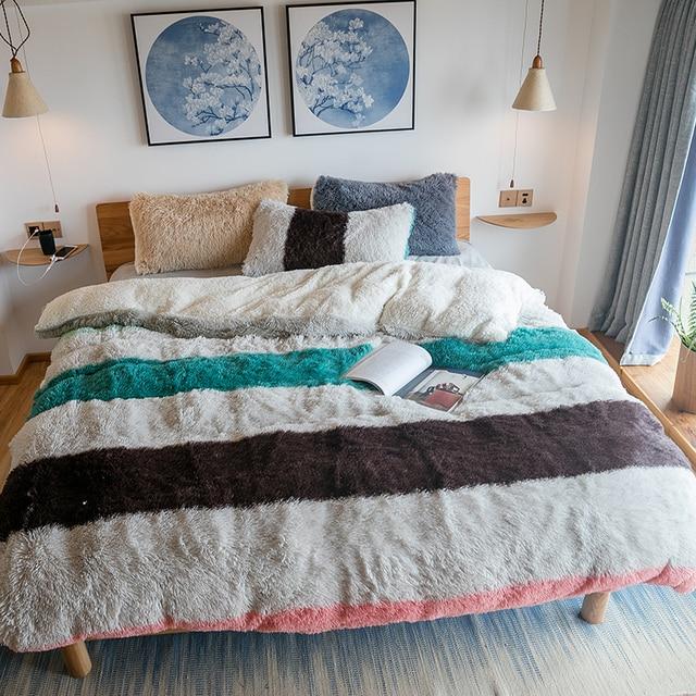 Bannfarbeeinfarbig Fleece Stoff Bettwäsche Set Abdeckung Warm