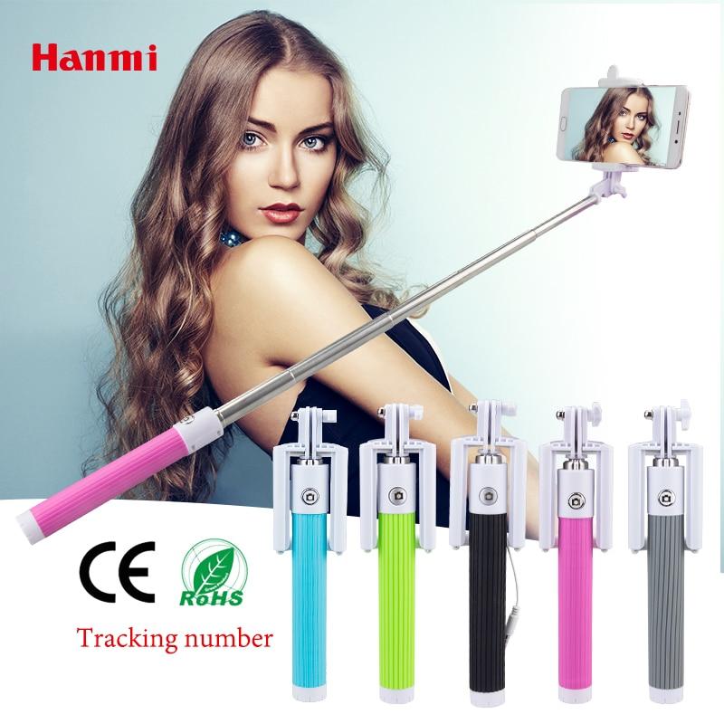 Hanmi Mini Foldable Selfie Stick Monopod Tripod Wired Selfish Stick Cable Extendable Selfie Stick For iPhone Samsung Smartphones