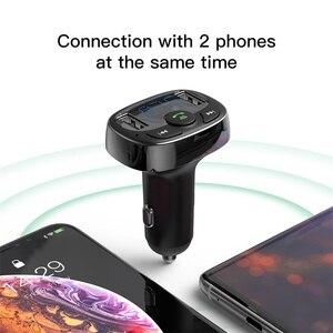 Image 5 - FM 송신기와 Baseus 듀얼 USB 차량용 충전기 아이폰 Xiaomi 화웨이에 대한 자동차에 블루투스 핸즈프리 FM 변조기 전화 충전기