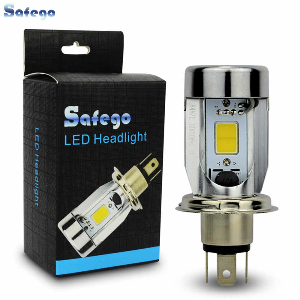 Safego H4 Motorcycle Led Headlight bulbs P43T 6500K hi lo Light Bulbs HS1 20W 2000LM Moped Scooter Motorbike lamp White 12V