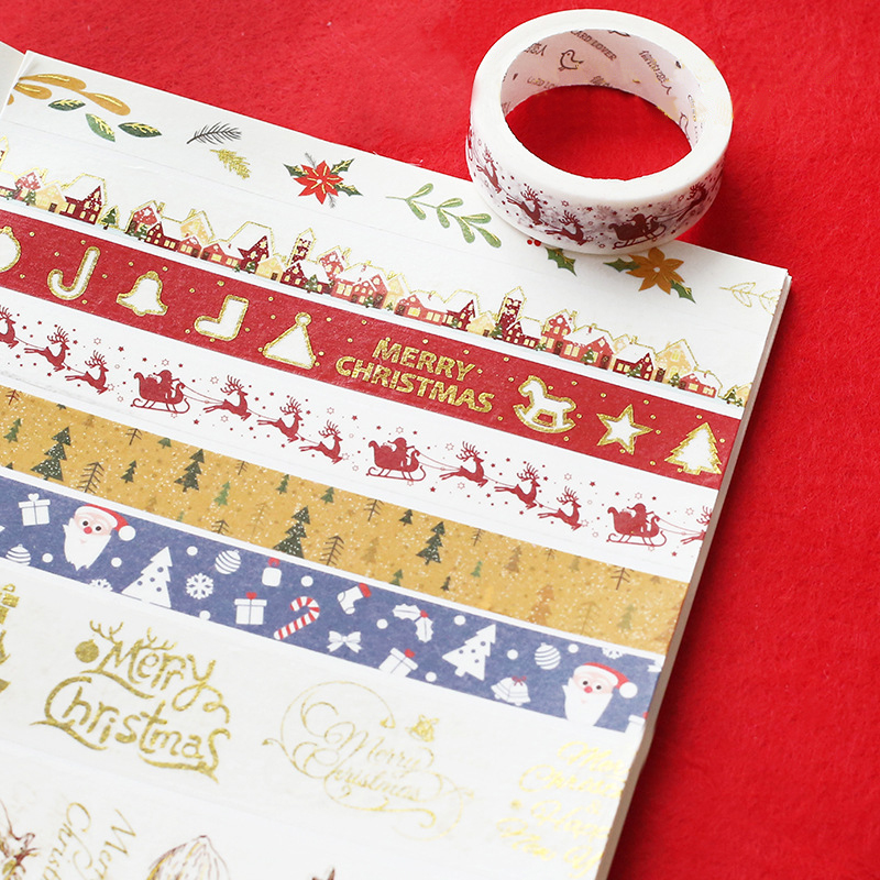 Merry Christmas 7m Washi Tape Handmade Sticker Decorative Scrapbooking Stationery Stickers Christmas Kawaii School Supplies merry christmas snowman pattern decorative stair stickers