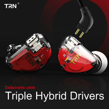 TRN V30 flagship headset in-ear HIFI headset 6 unit circle iron subwoofer mobile phone line control metal earphones earplugs(China)