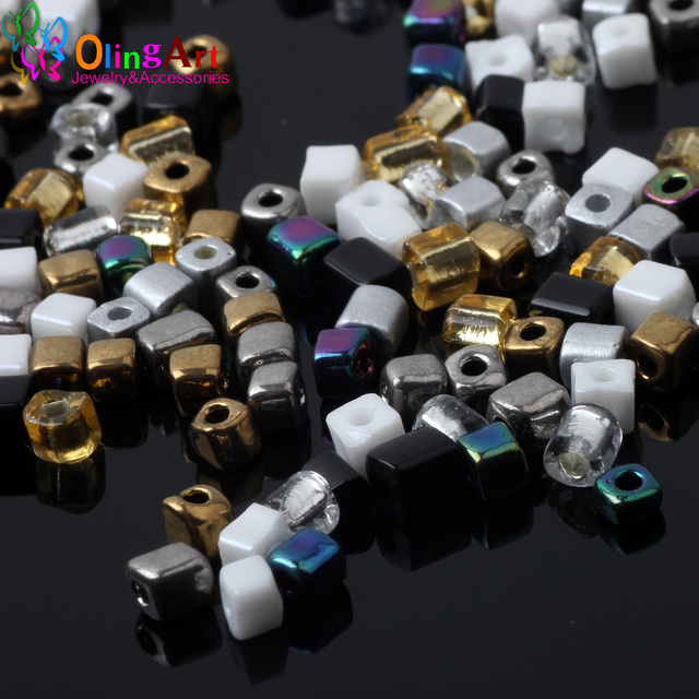 OlingArt 2019 NEW Mixed color 3x4mm Square glass seed beads 85g bead Tube women earrings Bracelet choker necklace jewelry making
