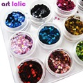 12 Colors Nail Art Glitter STAR Shapes Confetti Sequins Acrylic Tips UV Gel Polish Deco