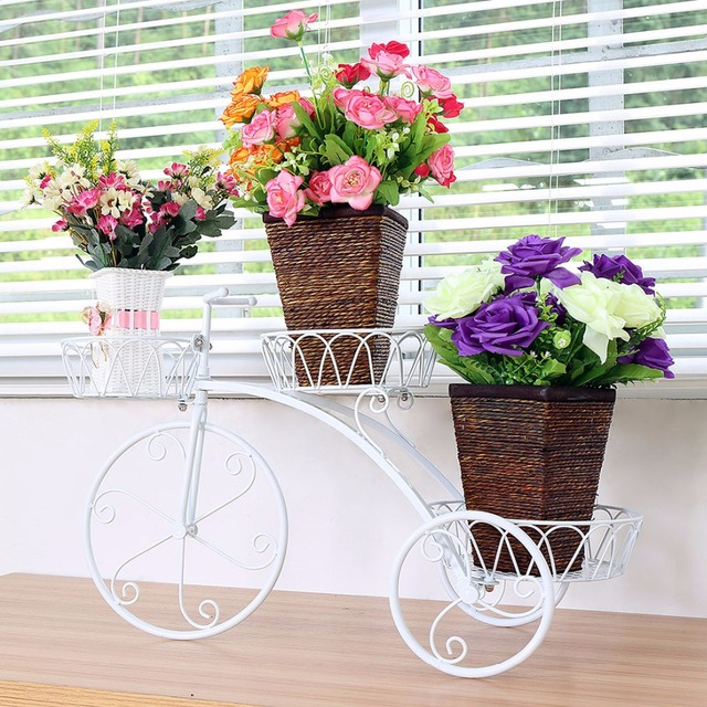 Bicycle Flower Pot Plant Stand Holder Metal Basket Planter Pots Perfect For Home Decoration