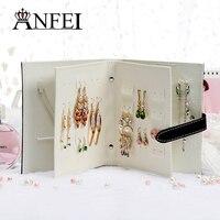 ANFEI Nuevo Diseño de Cajas de Joyas Y Embalaje de Cuero de La Pu Stud Pendientes de Regalo de la Joyería Exhibición de La Joyería Colección Libro Creativo