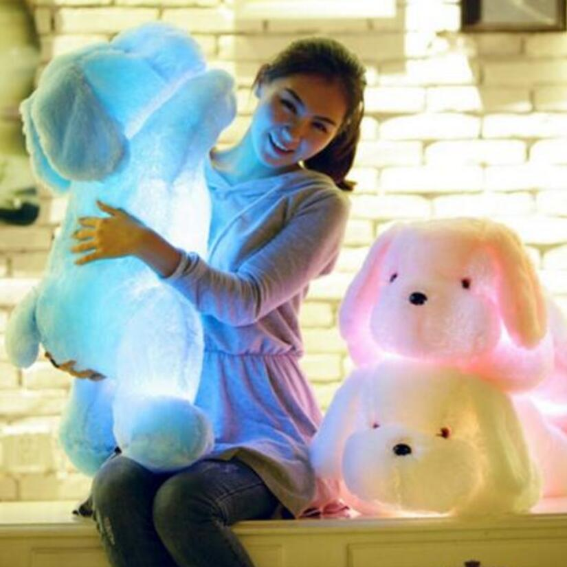 Hot Sale Big Size 50CM Colorful Luminous Teddy Dog LED Light Plush Glowing Pillow Cushion Kids Toys Stuffed Animal Doll