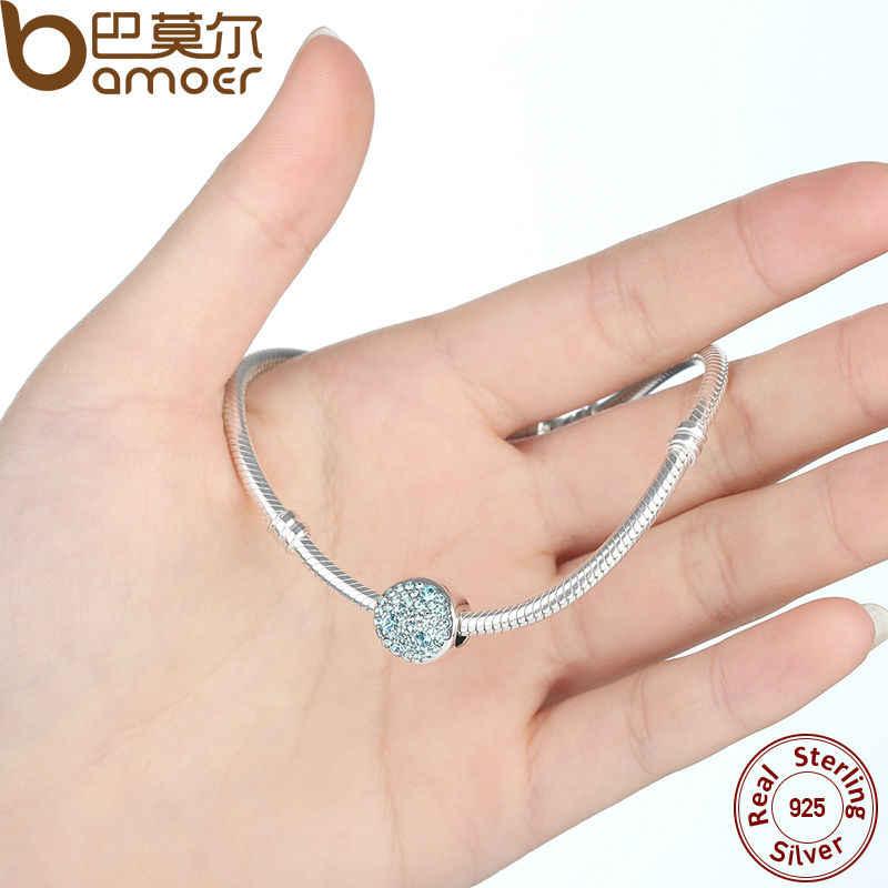 BAMOER yeni bahar koleksiyonu 925 ayar gümüş gök mavisi Charm fit bilezik ve kolye DIY hediye toptan SCC009