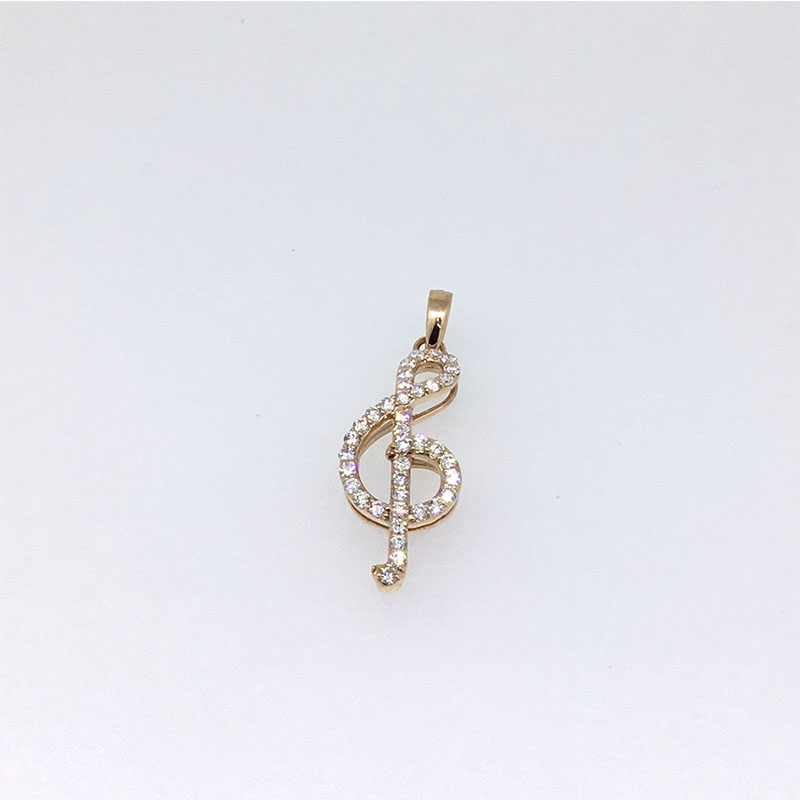 ANI 14K Rose Gold (AU750) Wedding Pendant 0.411 ct I-J/SI Real Natural Diamond 3 Color for Women Musical Note Pendant Necklace цена 2017
