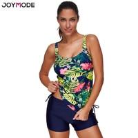JOYMODE 2017 New Arrival Green Tankini Swimsuit Floral Printed Push Up Women Swimwear Two Pieces Bathing