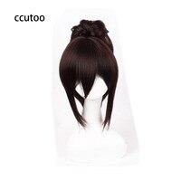 Ccutoo 35 cm/14 inch Nữ Ngắn Cơ Thể + Kiểu Tóc Đuôi Ngựa Tóc Cosplay Full Wig Dark Brown Tấn Công Titan Sasha Áo Tóc Gi