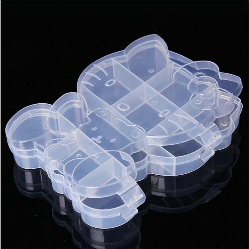 Cartoon Kitty Cat Clear Plastic Storage Box Jewelry Box Jewelry Organizer Holder Cabinets For Small Objects