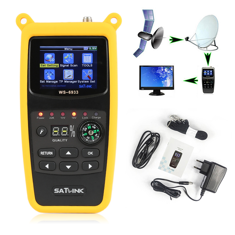 Satlink WS-6933 DVB-S2 FTA C&KU Band Satellite Finder Meter Satlink 6933 WS6933 With 2.1 Inch LCD Display Portable