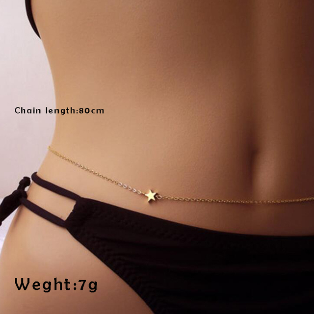 Mossovy Simple Body Waist Chain Fashion Golden Silver Women Accessories Charms Free Collocation Star Chain Jewelry For Women