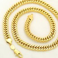 Necklace  Yellow Gold Filled Mens Double Curb Chain