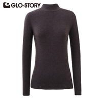 GLO STORY 2017 Autumn Winter Women Pullover Sweaters Casual Full Turtleneck Solid Sweater XS XL 6